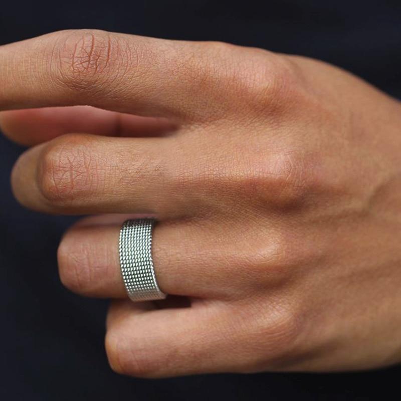 FLEXIBLE STEEL RING MESH FLAT CHAIN BAND RING FOR MEN WOMEN JEWELRY|Rings| - AliExpress