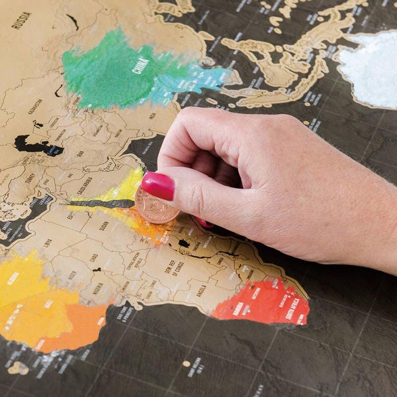 1 Uds mapa del mundo para rascar Mapa del viaje borrable decoración creativa del hogar pegatinas coloridas para pared mapa decorativo Mini