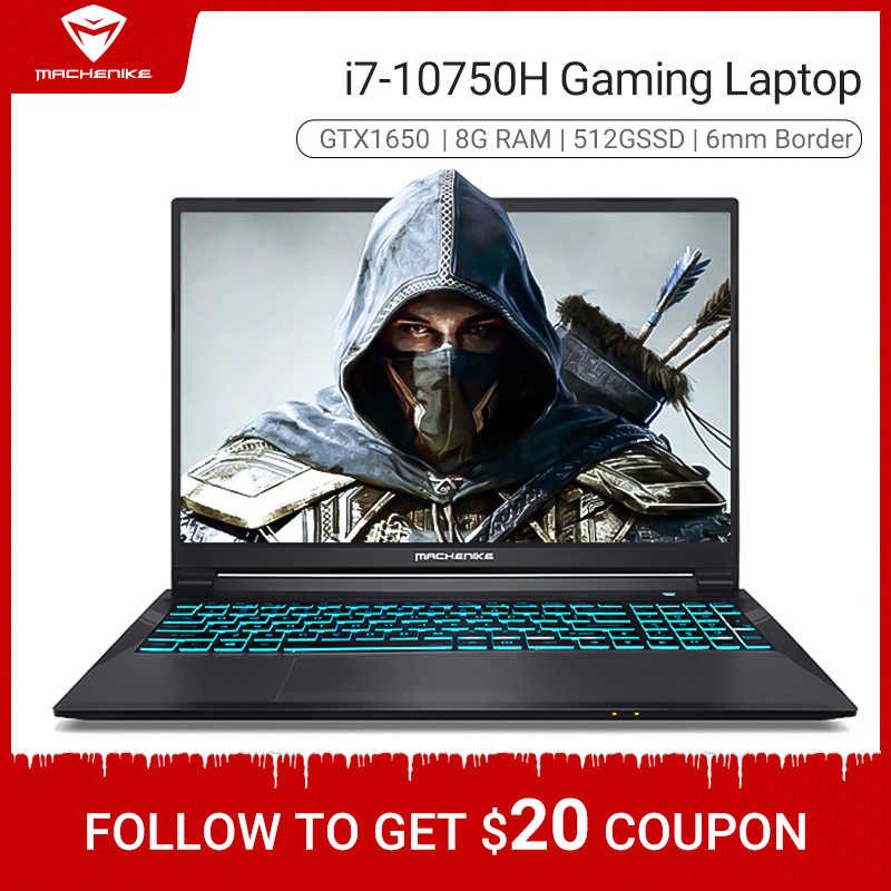 Machenike T90 I7 Gaming Laptop 2020 Intel Core I7 10750H GTX1650 4G GDDR6 8 Gb Ram 512G ssd 15.6 ''6 Mm Grens Ips I7 Notebook