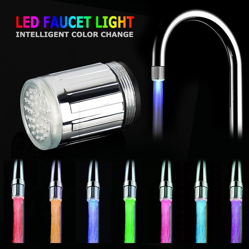 Luminous LED Water Faucet Shower Tap Basin Water Nozzle Bathroom Kitchen Heater Faucets Thermostat Blue 3Color 7 Colors