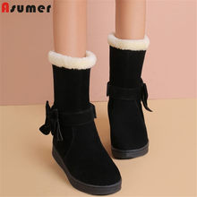 ASUMER 2020 New arrival snow boots women bowtie thick fur warm cotton winter boots Parent-child shoes girl ankle boots fow women(China)