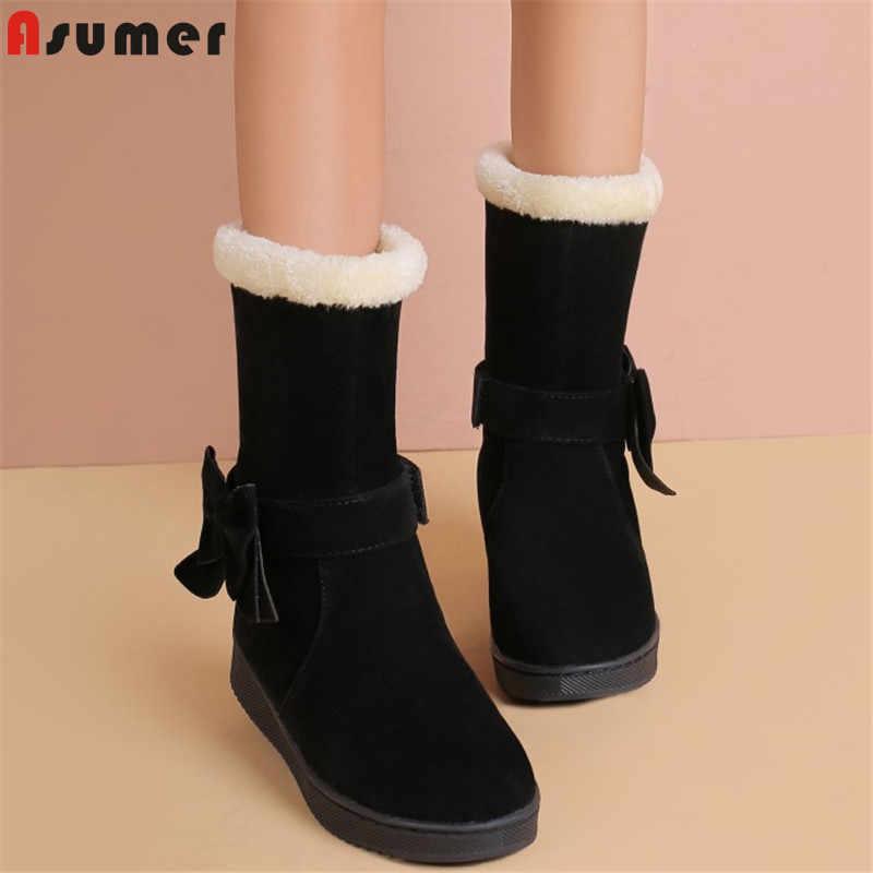 ASUMER 2020 yeni varış kar botları kadın papyon kalın kürk sıcak pamuk kışlık botlar ebeveyn-çocuk ayakkabıları kız yarım çizmeler akış kadın