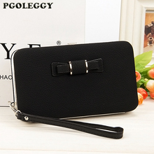 New Women Wallets Female Bags Bow Hasp Leather Wall