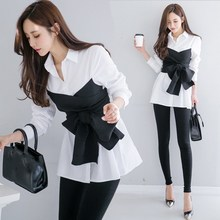 2019 Spring Women Long Sleeve Black White Blouse New Tie Top Female Bow Fake Two Pieces Tops