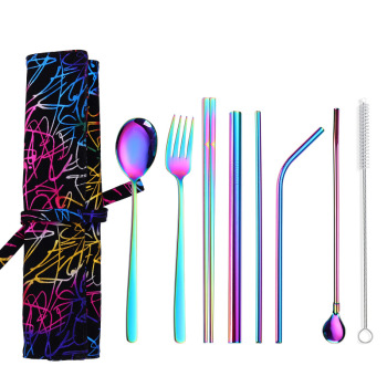 20set/lot Colorful 8pcs Portable Stainless Steel Cutlery Suit Reusable Straw and Chopstick Travel Kn