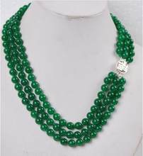 Free Shipping >>Fashion 3Rows 8mm Natural Green Jade Necklace Silver Clasp(China)