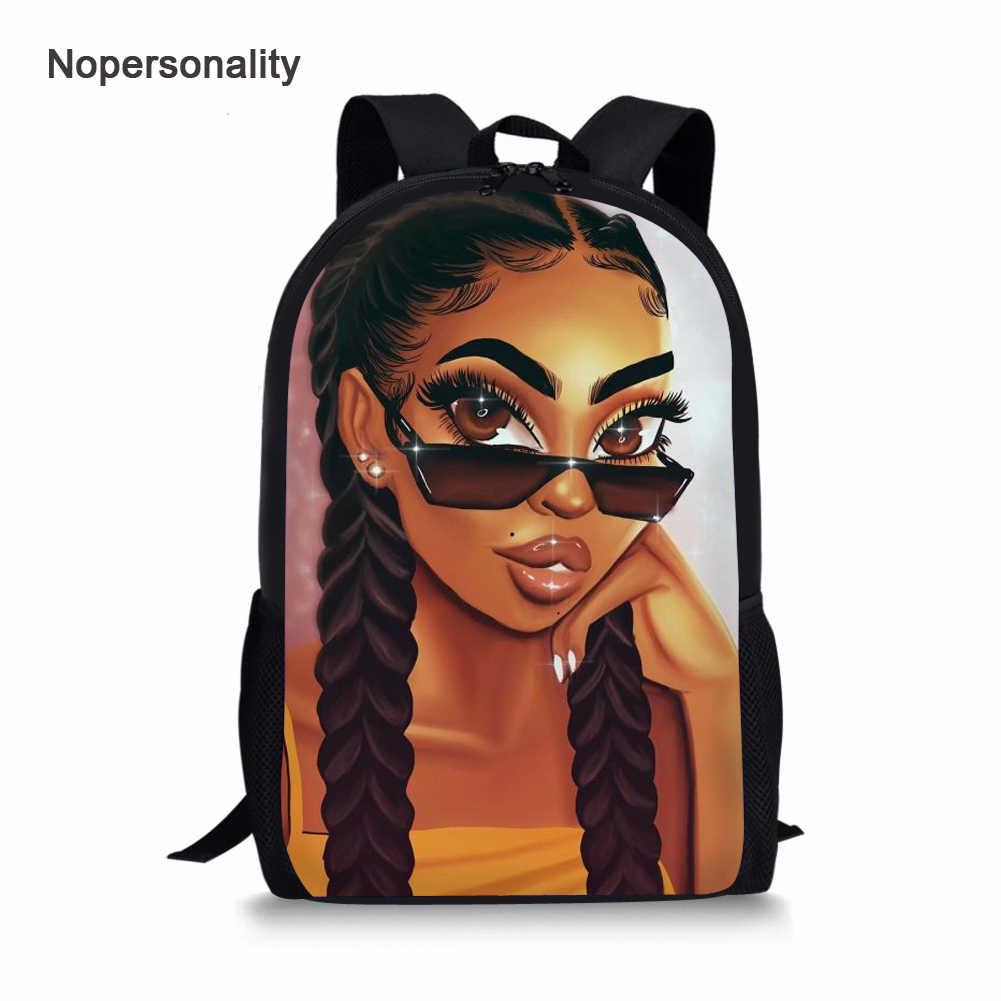 Nopersonality Schwarz Afro Mädchen Magie Buch Taschen Afrikanische Schule Tasche Set für Kinder Stilvolle Elementare Kinder Amerikanischen Rucksäcke