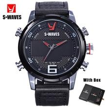 SWAVES Leather Wristwatch Mens Unique Water Resistant Dual D