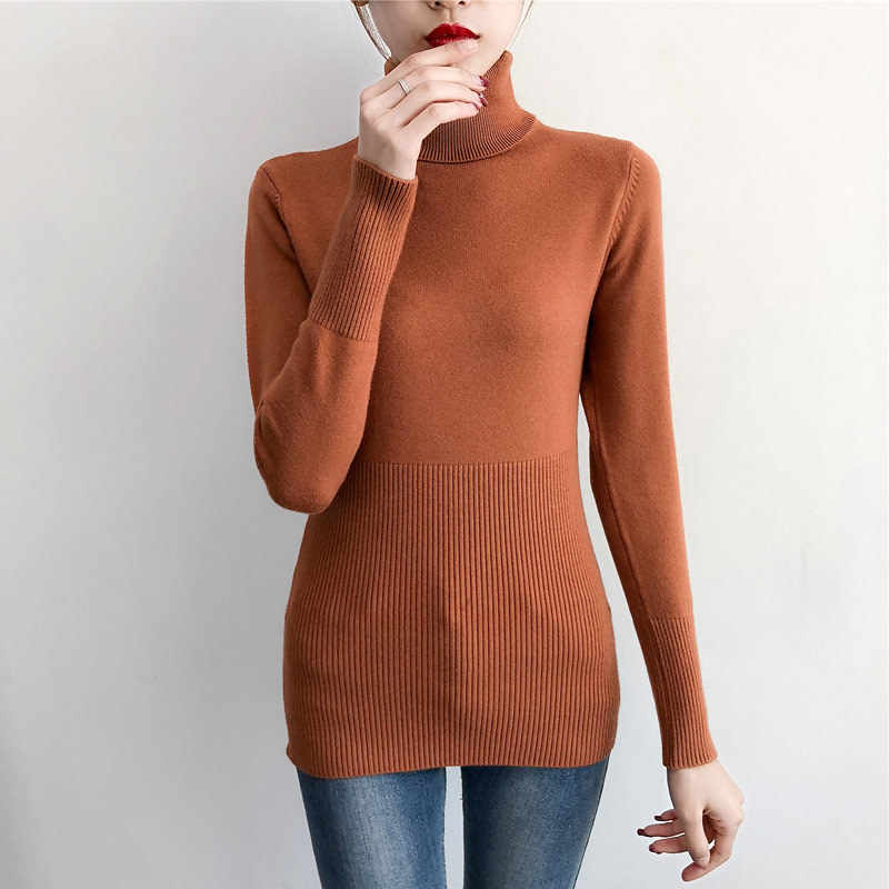 Roupas de inverno feminino camisola gola alta pulôver casual jumpers senhoras puxar femme camisola inferior quente hiver 7