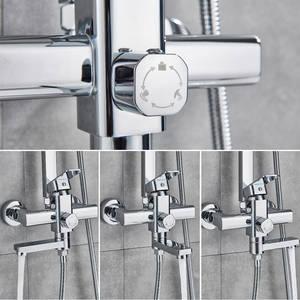 Image 5 - Rozin cabina de ducha cromada, juego de grifería, mezcladores de ducha de lluvia para baño, toalla caño giratorio, grúa de ducha, grifo mezclador frío caliente