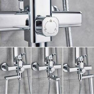 Image 5 - Rozinクロームシャワーキャビン蛇口セット浴室降雨シャワーミキサータオルスイベルスパウトバスシャワークレーンホットコールドミキサータップ