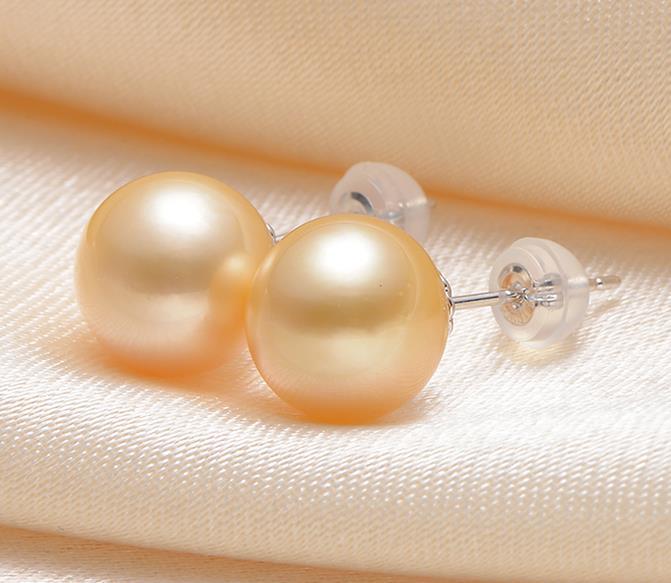 Une paire de 10-11mm mer du sud ronde or rose perle boucle d'oreille 18/k