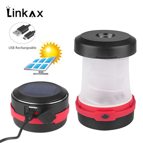Portable Solar LED Camping Lantern USB Rechargeable Collapsible Camping Light for Outdoor Hiking with 18650 battery 1200mAh Pakistan