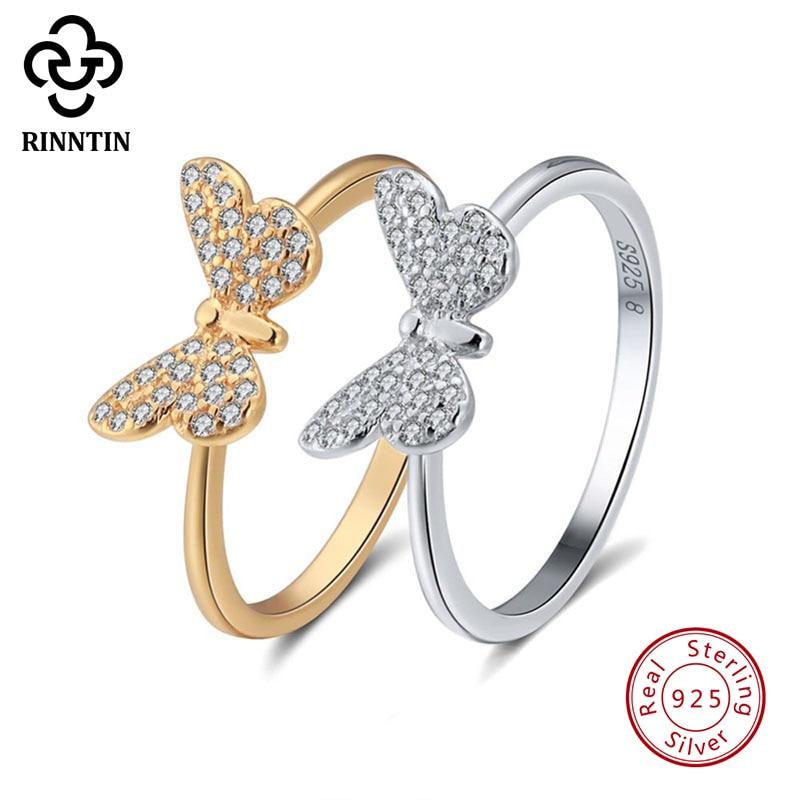 Rinntin 925 Sterling Silver Women Ring Butterfly Pattern With AAA Shiny Zircon Female S925 Rings Fine Jewelry TSR59