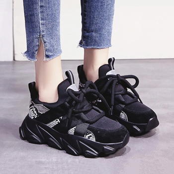 Women Chunky Sneakers High Street Thick Bottom Ladies Platform Shoes Fashion Snake Pattern Black White Women Casual Shoes tuinanle chunky sneakers high heel 10 cm women autumn thick bottom platform sneakers height increasing woman silver casual shoes
