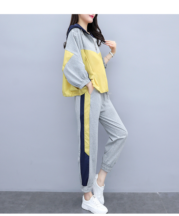 Grey Sport Casual Two Piece Sets Outfits Tracksuits Women Plus Size Hooded Tops And Pants Suits Spring Autumn Fashion Loose Sets 29