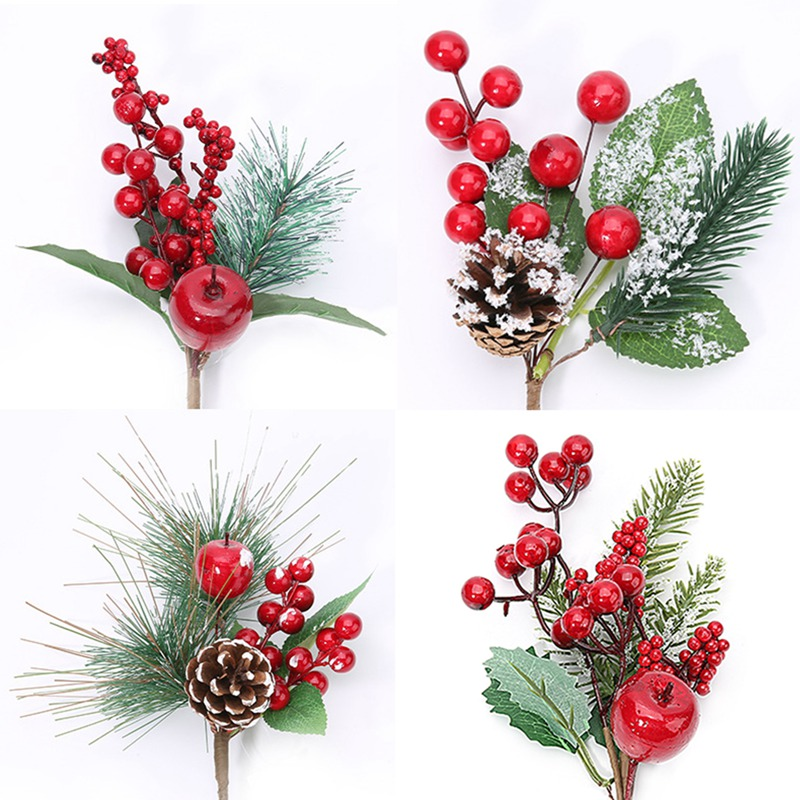 Red Christmas Berry And Pine Cone Picks With Holly Branches For Holiday Floral Decor Crafts Artificial Flower