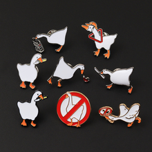 Brooches Badge Pins Animals Enamel Decorate Cartoon Game Gift Goose White Fun Students