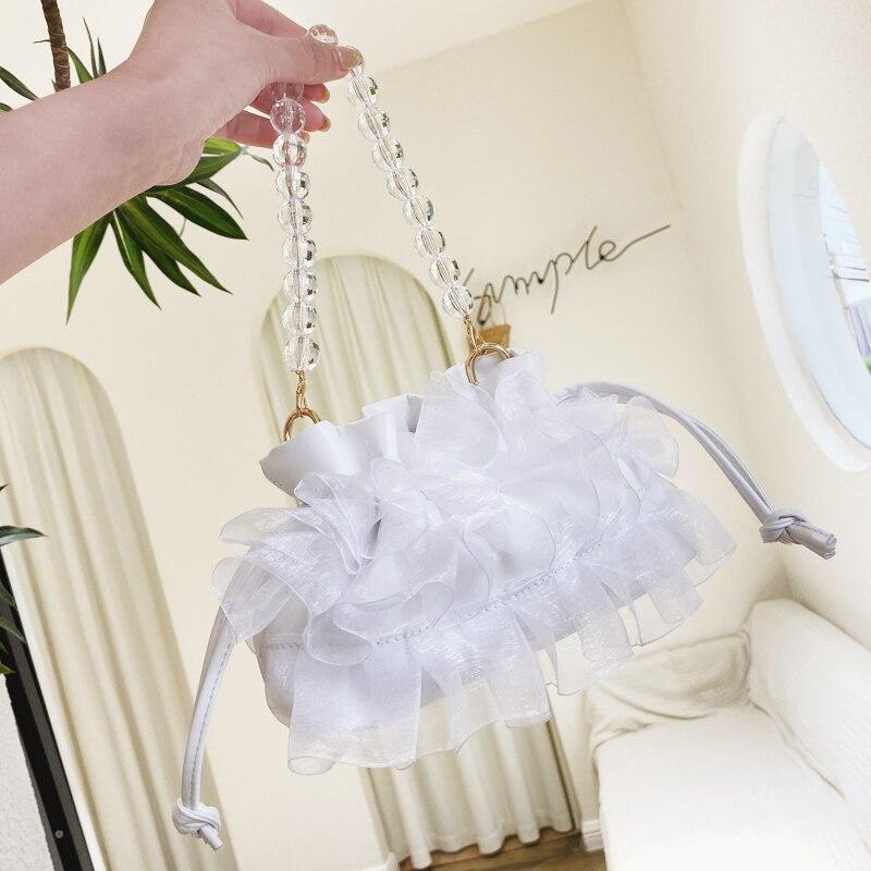 Модные женские сумки с кружевными цепочками, женская сумка-мессенджер, женские сумки с жемчужинами, женская сумка через плечо, летние женск...