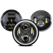 7นิ้วไฟหน้าสำหรับรถจักรยานยนต์7นิ้วรอบDRLเลี้ยวสัญญาณLEDไฟหน้า40W 60W 80W 90W