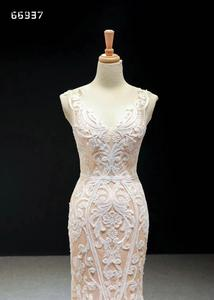 Image 2 - Champagne Lace Simple Wedding Dresses 2020 Sleeveless Mermaid Bridal Gowns