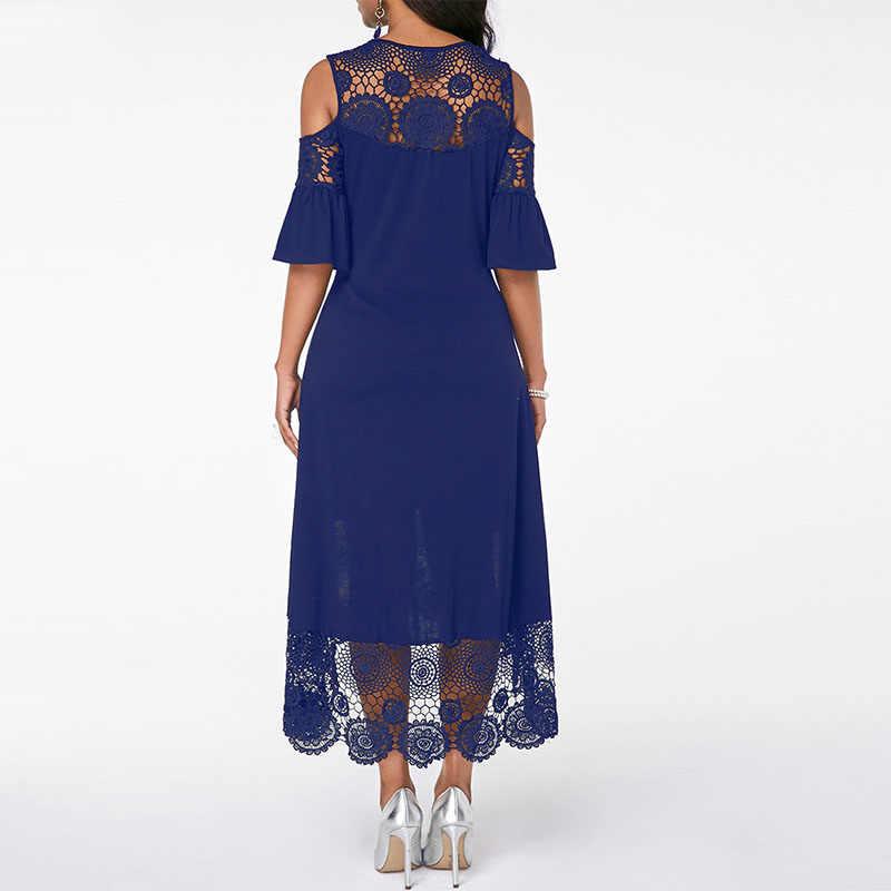 Wisalo размера плюс женское элегантное вечернее платье летнее кружевное с коротким рукавом О-образным вырезом с открытыми плечами Повседневное платье неправильной формы S-5XL Vestidos