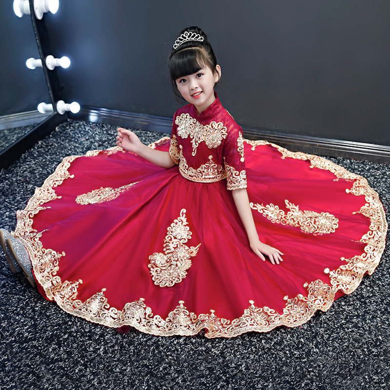 2019 Autumn And Winter New Style Chinese Style Dresses Of Bride Fellow Kids Wedding Dress Girls Piano Costume Princess Skirt