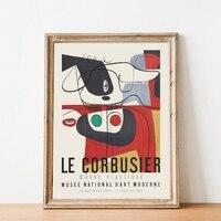 Le Corbusier معرض ملصق 1954 متحف الفن الفرنسي طباعة حجيرة نمط منتصف القرن الحديثة الرسم على لوحات القماش الجدارية ديكور