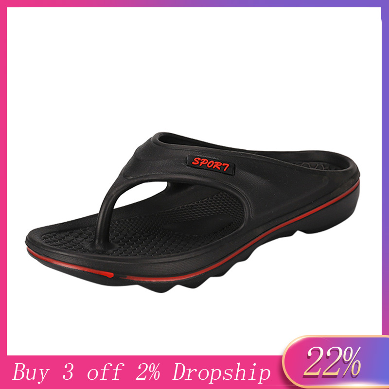 Slipper Shoes Sandals Flip-Flops Male Men's Casual Summer Home-Sole Toe Soft Pure-Colour title=