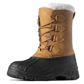 цена MARSON Men's Winter Snow Boots Outdoor Waterproof Anti-Slip Warm Fur Winter Boots Lace-up Shoes for Men Anti-Collision Toe Flats онлайн в 2017 году