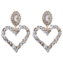 Heart Drop Earrings Trendy Colorful Big Stud Earrings for Women Inlaid with Water Drop Color Rhinestone Jewelry Gifts promotion 2016 new earrings water drop shape with big cz rhodium plated women earrings