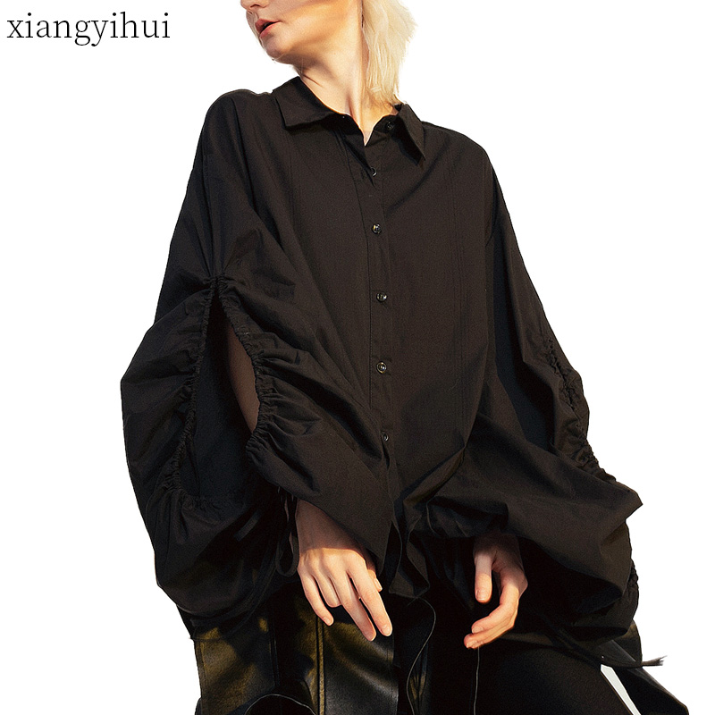 Casual Loose Shirt Women Long Sleeve Winter Lace up Single Breasted Blouse 2019 Turn down Collar Backless Lantern Sleeve Shirts
