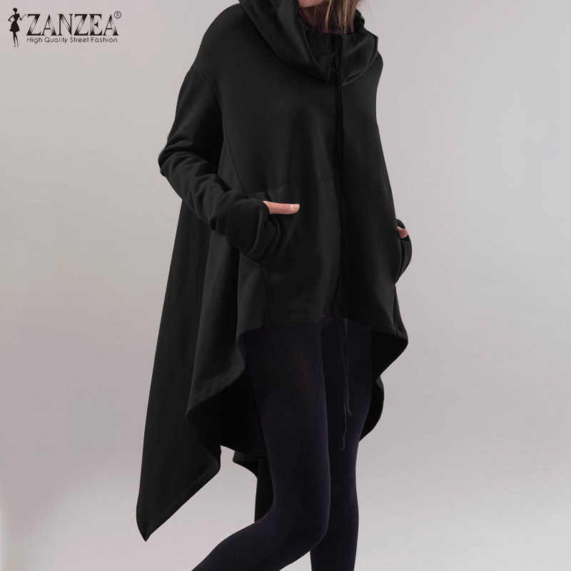 2020 ZANZEA Plus Größe Frauen Mit Kapuze Sweatshirts Weibliche Asymmetrische Rand Pull Langarm Hoodies Beiläufige Damen Zipper Up Pullover