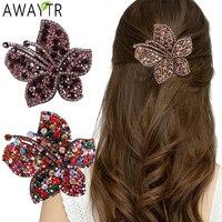AWAYTR barrette di fiori con strass fermagli per capelli per donna forcine di cristallo Vintage accessori per capelli per ragazze gioielli artigli per capelli