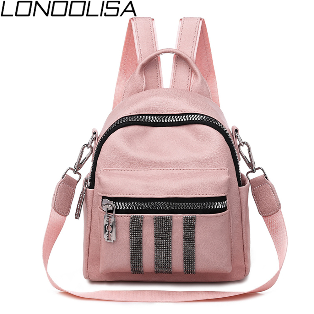 New Fashion Shoulder Bag Bright Diamond Backpack High Quality Soft PU Leather 3-in-1 Backpack For Teenage Girls Small Back Pack