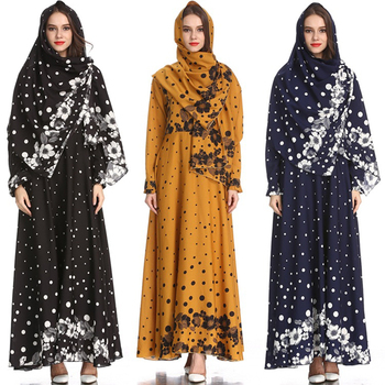 2019 Women Long Kaftan Dubai Dot Print Dress Muslim Dress Elegant Lady Arabian Clothing