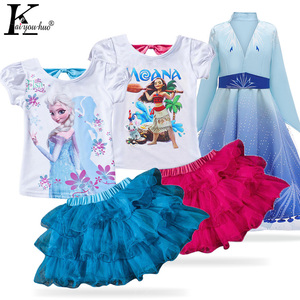 2 Anna Elsa Costume Outfits Children Clothing Summer Toddler Girls Clothes Kids Tracksuit For Girls Clothing Sets 3 4 5 6 7 Year(China)
