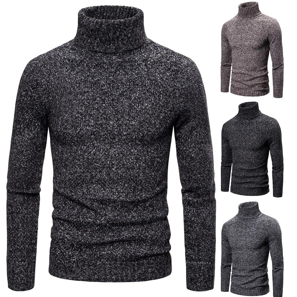 2019 New Fashion Black Friday Lowest Price Men Autumn Winter Turtle Neck Thick Warm Knitted Sweater Slim Pullover Warm Top Gift