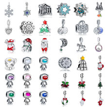 free shipping 1pc new christmas gift snowflake santa bell sweet house robot diy bead fit Original Pandora charms Bracelet S046(China)