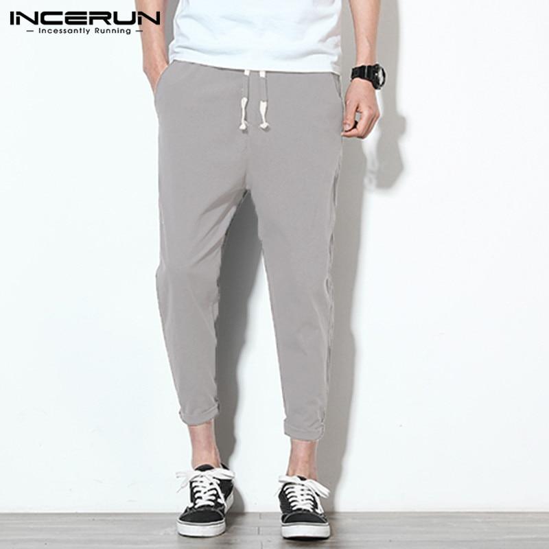 INCERUN Men Casual Pants Cotton Joggers Solid Vintage Drawstring Trousers Men Fitness Pantalones Hombre Harajuku 2020 Streetwear