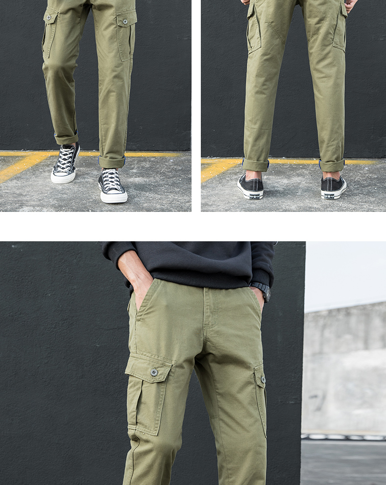 KSTUN Cargo Pants Men Straight Fit 100% Cotton Overalls Mens Trousers Casual Pants High Quality Men's Clothing Multi-Pockets 16