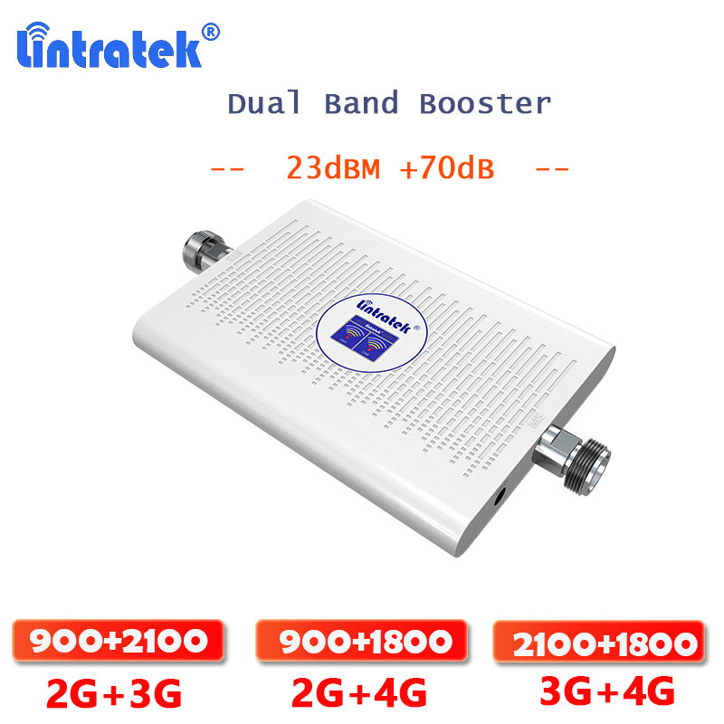 Lintratek 2G 3G / 2G  4G / 3G 4G Signal Booster GSM WCDMA DCS 1800 Dual Band Signal Amplifier Cellular Communication Amplifier