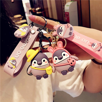 Cute Cartoon Penguin Keychain Student Schoolbag Pendant Couple Men Car Keychain Keyring Ring Girl Decoration Accessories Gift 2019 fashion dog car keychain animal couple lovely keychain car keyring gift for girl women and men jewelry anime keychain