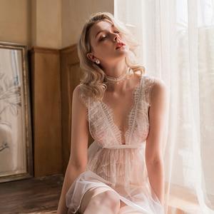 Image 3 - חדש סקסי V צוואר נשית כותונת פרספקטיבת פיתוי תחרה מוצק צבע חתונת כותנות לילה פיות קפלים שמלת שינה