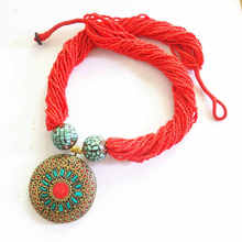 Nepal Vintage Big Brass Pendants Necklace With Red Multi Layers Beaded Chain Tibetan Ethnic Fashion Necklace TNL573