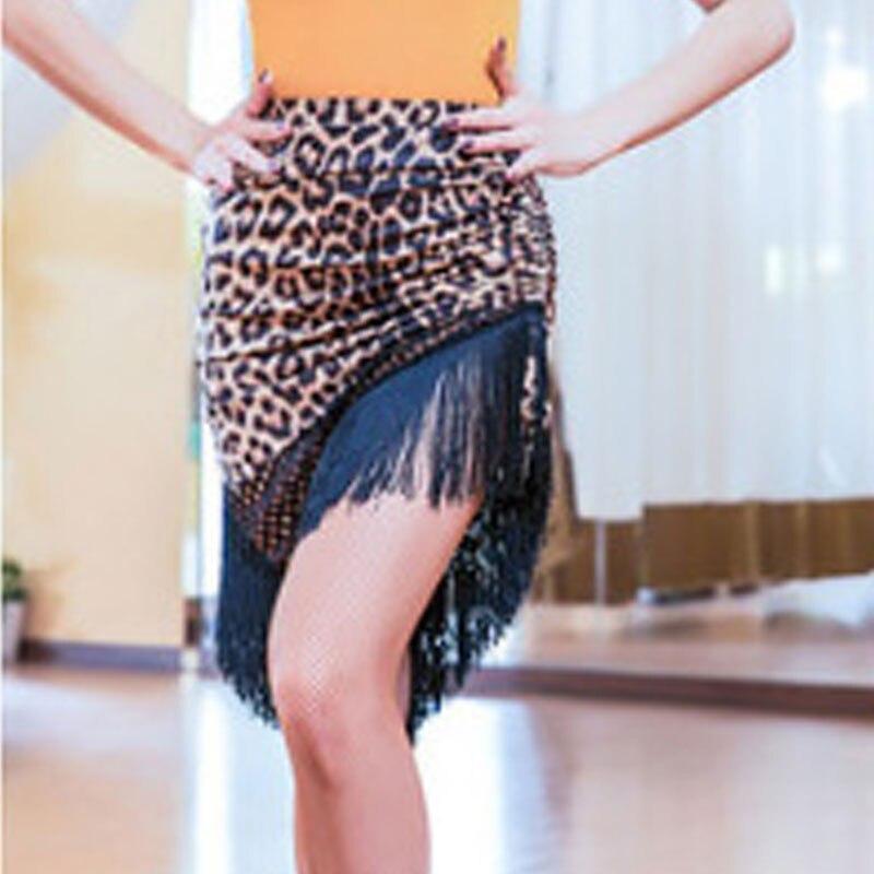 Новинка, Латинская полуюбка для женщин, ча-румба-Самба, сексуальная леопардовая юбка с бахромой для танцев, для женщин, для взрослых, для выступлений, для тренировок, латино платье