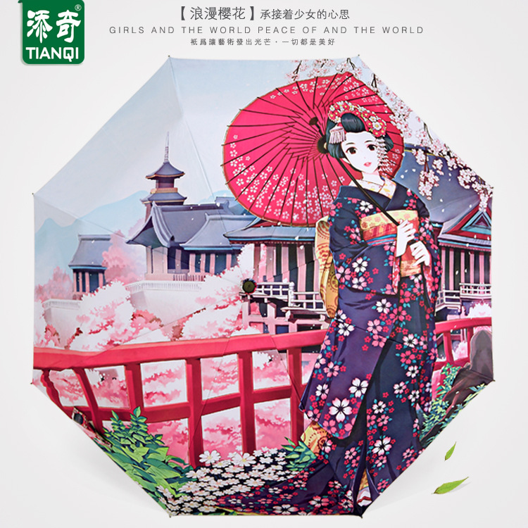 TIANQI Illustration Umbrella Anime Japanese-style Sun-resistant Digital Printing Manufacturers Direct Selling Parasol Dual Purpo