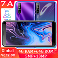 Globale version 7A quad core smartphones 13MP 6,0 ZOLL 4GB RAM 64G ROM gesicht ID entsperrt handys android günstige celulares WIFI