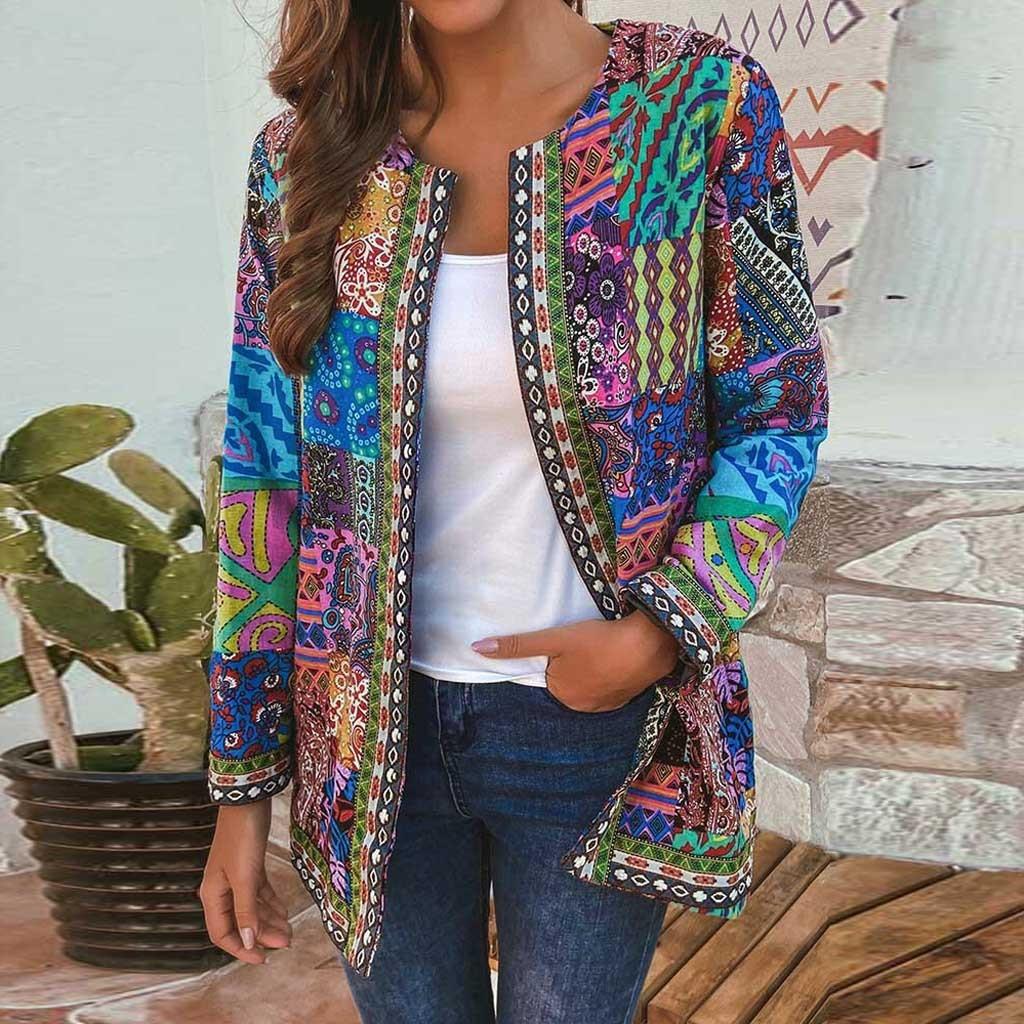 Женская верхняя одежда, пальто, куртки, винтажная хлопковая куртка в этническом стиле с цветочным принтом и длинным рукавом, Осень-зима, пал...