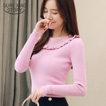 Long Sleeve O-Neck Knitted Sweater Women Slim Ruffles Bottoming Femal Sweater Pullovers 2019 Autumn and Winter Sweater 5052 90(China)